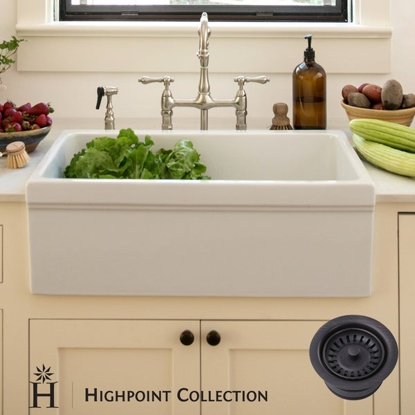 Highpoint Collection Decorative Farmhouse Fireclay Sink And Oil Rubbed Bronze Disposal Drain