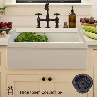 Highpoint Collection Decorative Farmhouse Fireclay Sink and Oil Rubbed Bronze Drain