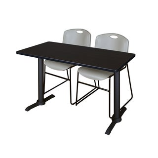 Cain 42-inch x 24-inch Training Table with 2 Grey Zeng Stack Chairs