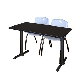 Cain Blue Metal/Laminate 42-inch x 24-inch Training Table With 2 M Stack Chairs