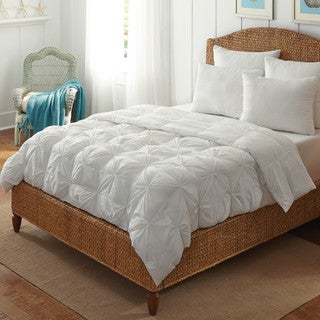 White Pintuck Tufted All Season Down Alternative Comforter