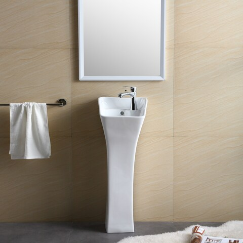 Windfield White Vitreous China Pedestal Sink