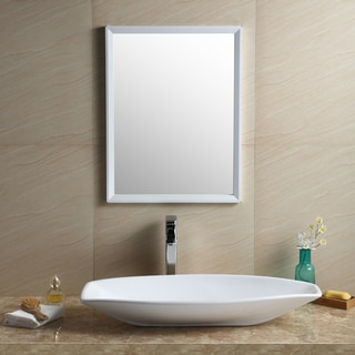 Fine Fixtures White Vitreous China Oval Modern Vessel Bathroom Sink
