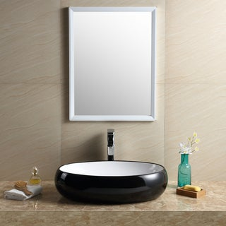 Fine Fixtures Vitreous China Black and White Oval Modern Vessel Bathroom Sink