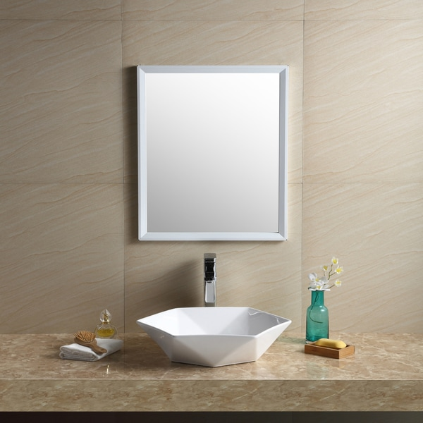 Shop Fine Fixtures White Vitreous China Hexagon Vessel Bathroom Sink - White bathroom faucet fixtures