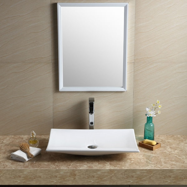 Fine Fixtures Vitreous China White Rectangular Modern Vessel Bathroom Sink Free Shipping Today