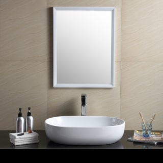Fine Fixtures Modern White Vitreous China Oval Sharp Vessel Bathroom Sink