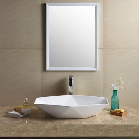 Fine Fixtures White Vitreous China Modern Vessel Bathroom Sink