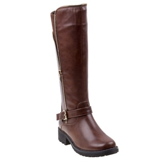 Nanette Lepore Girls' Brown Polyurethane Side Zip Boots With Buckle Ornament