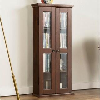 41-inch Brown Wood Media Storage Cabinet