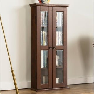 41-inch Brown Wood Media Storage Cabinet