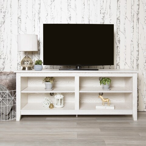 Havenside Home Jacksonville 58-inch White Wash Wood TV Stand