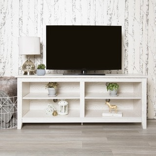 "58"" White Wash Wood TV Stand"