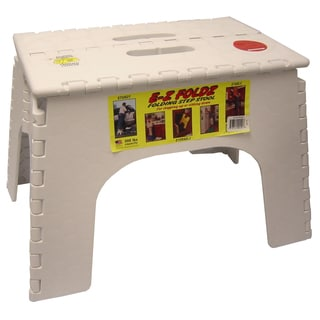 "B&R Plastics 103-6WH 12"" White EZ Folds Folding Step Stool"