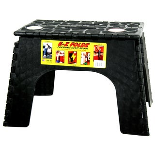 "B&R Plastics 103-6BK 12"" Black EZ Folds Folding Step Stool"
