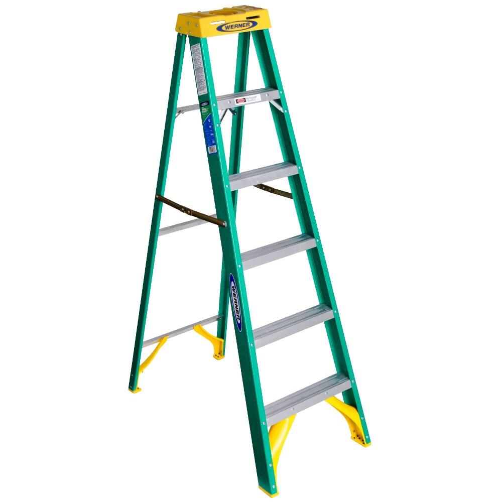 Step Ladder Fiberglass Green Electrically Non Conductive