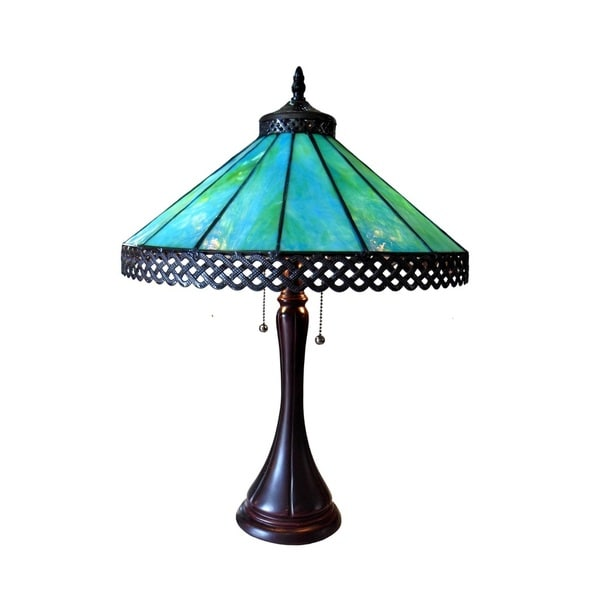 Elegant Chloe Tiffany Style Mission Design 2 Light Antique Bronze Table Lamp