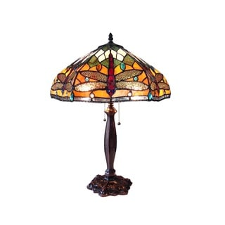 Chloe Tiffany Style Dragonfly Design 2-light Antique Bronze Table Lamp
