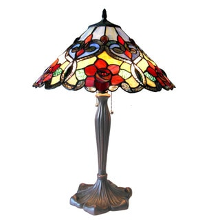 Chloe Tiffany Style Rose Floral Design 2-light Antique Bronze Table Lamp