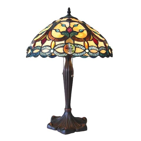 Tiffany Style Victorian Design 2-light Antique Bronze Table Lamp