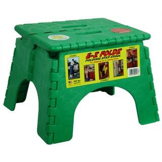 "B&R Plastics 101-6G 9"" X 11.5"" Green EZ Foldz Folding Step Stool"