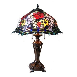 Chloe Tiffany Style Rose/Wisteria Floral Design 3-light Antique Bronze Table Lamp