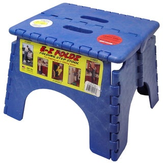 "B&R Plastics 101-6B 9"" X 11.5"" Blue EZ Folds Folding Step Stool"