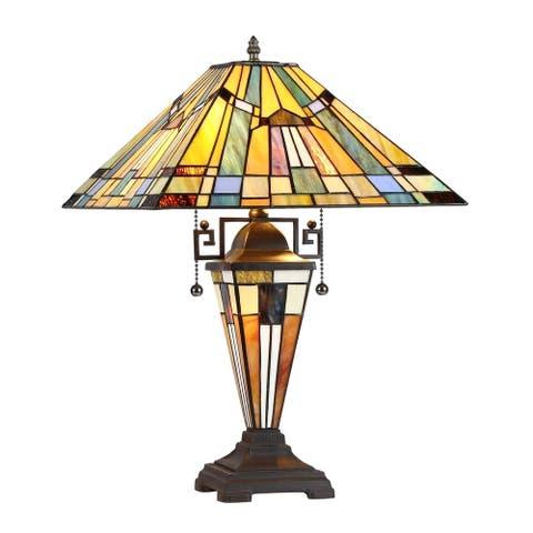 Tiffany Style Mission Design 2+1-light Blackish Bronze Table Lamp