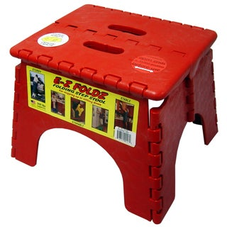 "B&R Plastics 101-6R 9"" X 11.5"" Red EZ Folds Folding Step Stool"