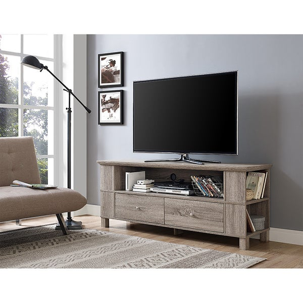 shop 60 inch wood storage tv stand driftwood on sale free shipping today. Black Bedroom Furniture Sets. Home Design Ideas