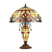 Chloe Tiffany Style Victorian Design 2+1-light Dark Bronze Table Lamp