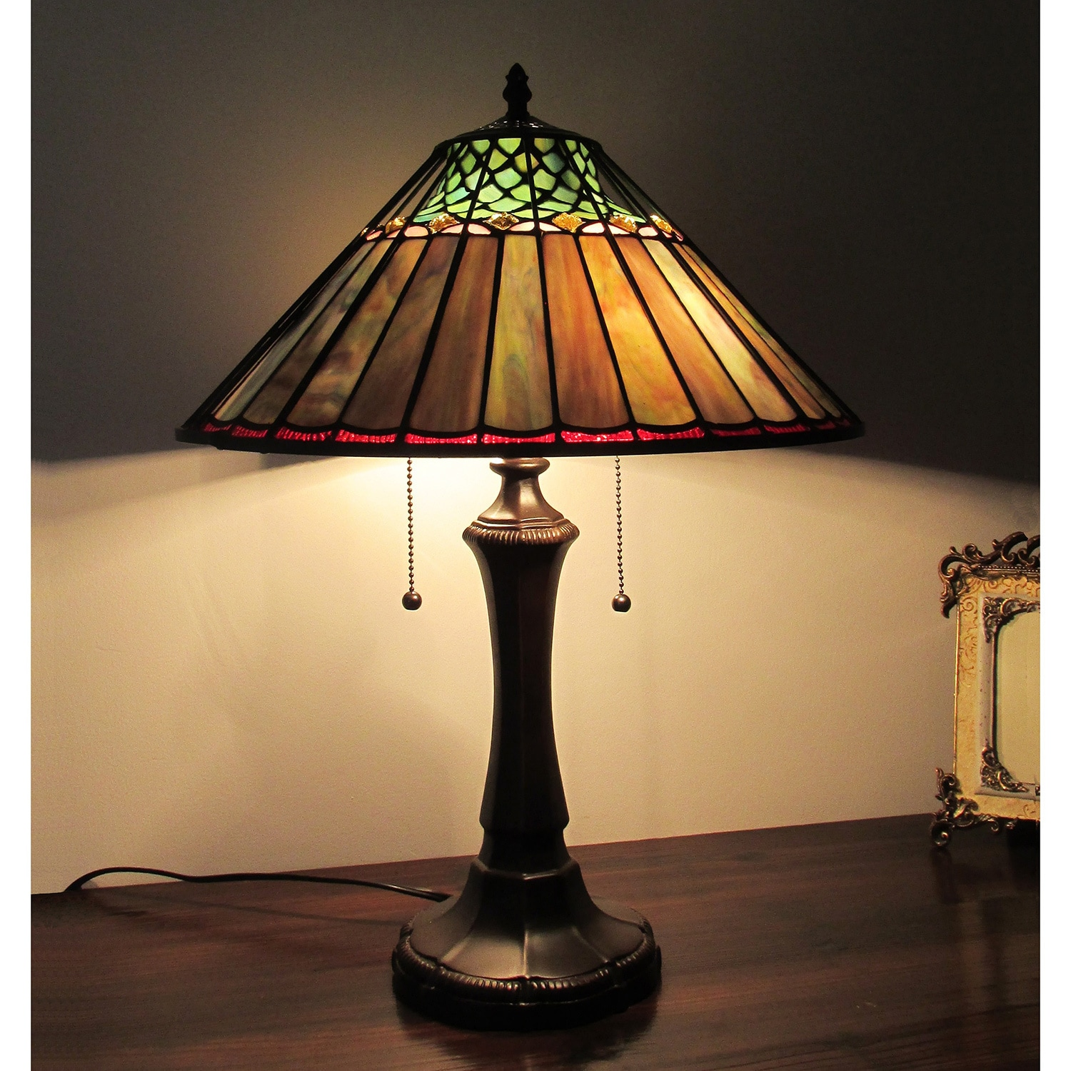 Tiffany Style Mission Design 2-light Dark Bronze Table Lamp (Green/Brown/Blue)