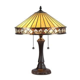 Chloe Tiffany Style Mission Design 2-light Dark Bronze Table Lamp
