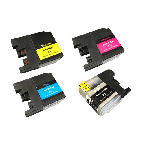 4pk Replacement Black, Cyan, Magenta & Yellow Toner Ink Cartridges, Fits Brother Printers, Compatible with Part LC-103XL