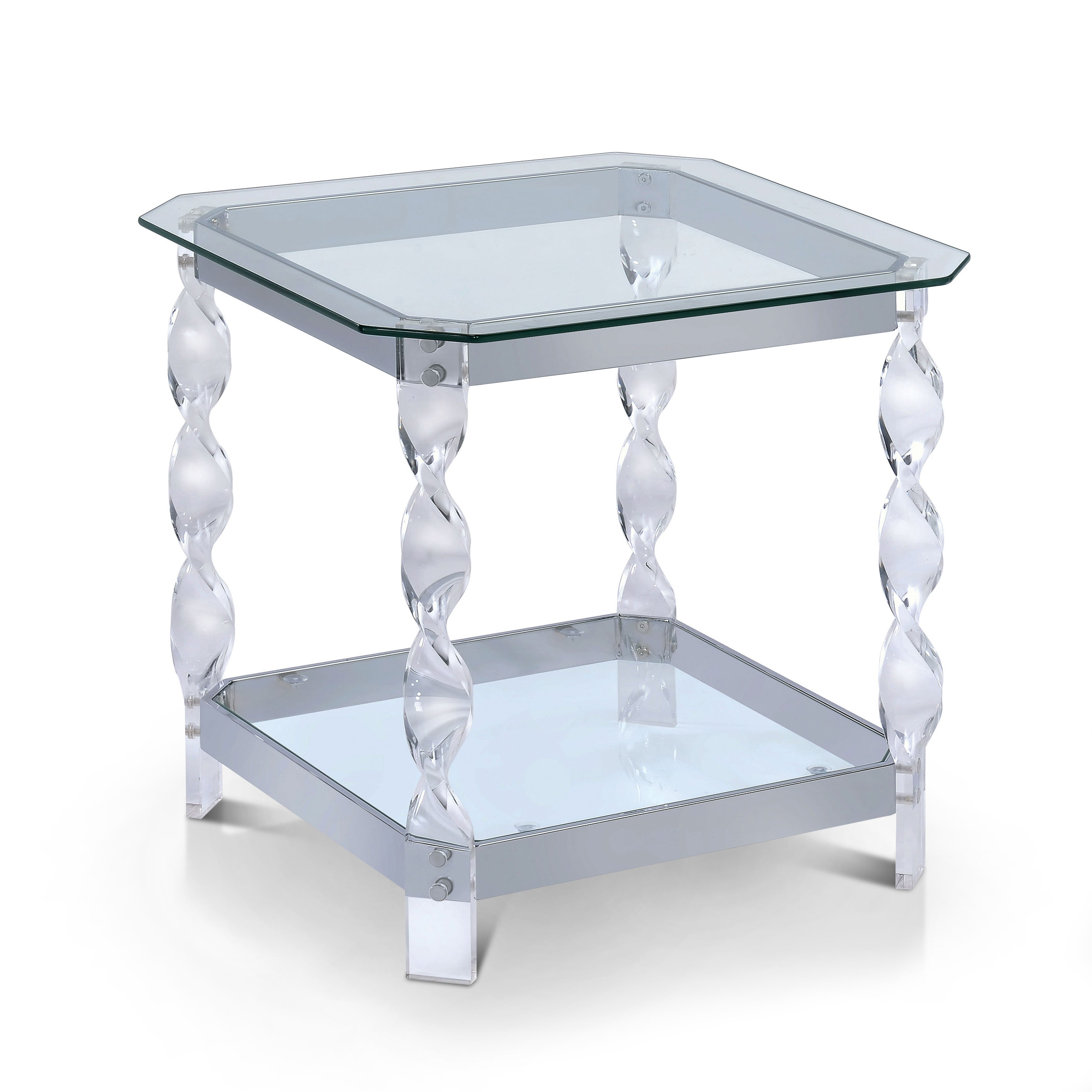 Clear Glass Chrome End Table Contemporary Modern Accent Side Acrylic Leg New
