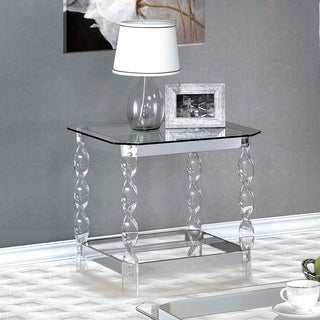 Furniture of America Monrow Contemporary Clear Glass/Chrome End Table