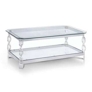 Furniture of America Monrow Contemporary Clear Glass/Chrome Coffee Table