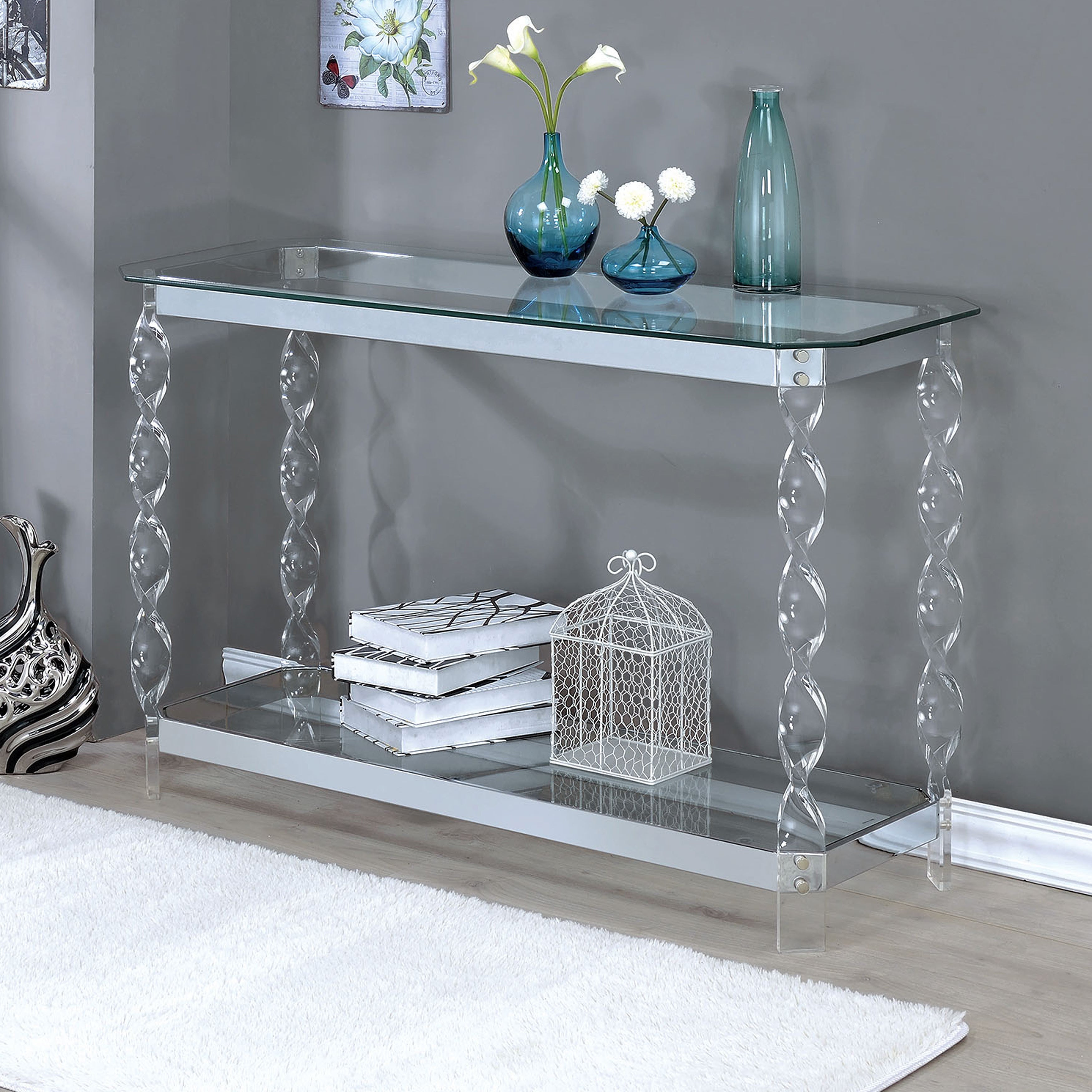 Console Tables For Entryway Chrome Sofa Table Clear Glass