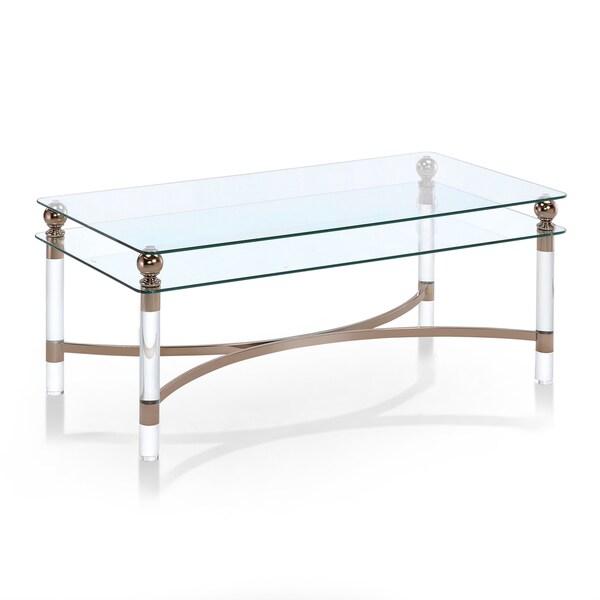 Shop Furniture Of America Angela Contemporary Glass/Gold