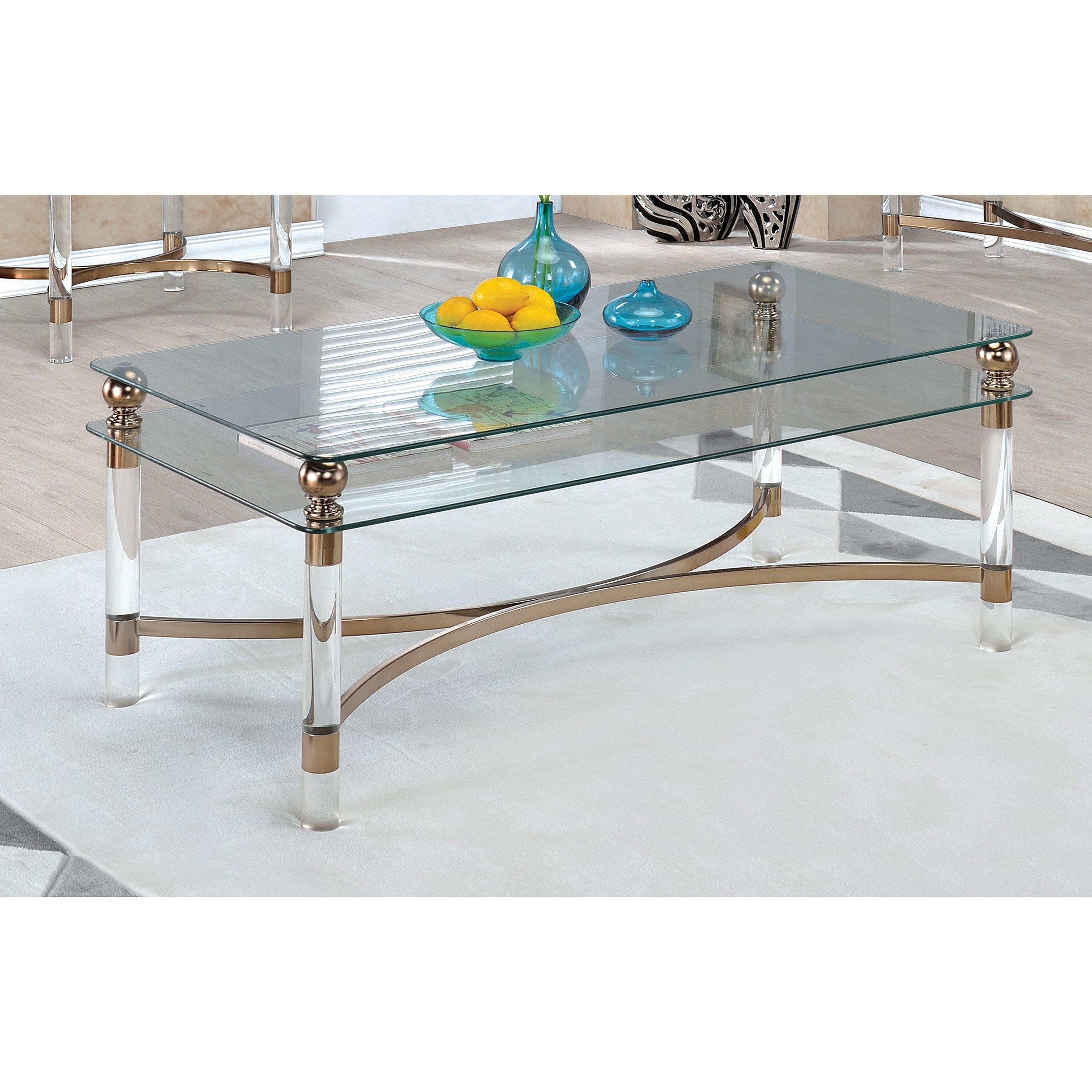 Furniture of America Angela Contemporary Glass/Gold Coffe...