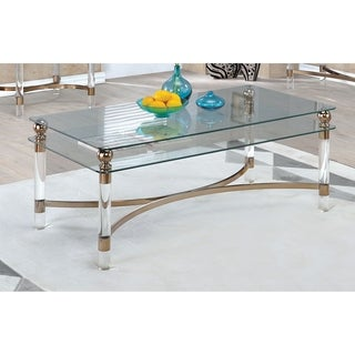 Furniture of America Angela Contemporary Glass/Gold Coffee Table