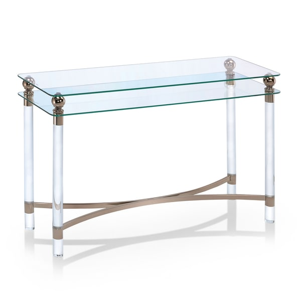 Furniture Of America Angela Contemporary GlassGold Sofa Table - Angela coffee table