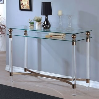 Furniture of America Angela Contemporary Glass/Gold Sofa Table