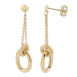 Fremada Italian 14k Yellow Gold Oval and Doughnut Dangle Earrings