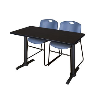 Cain Blue Plastic/Metal/Laminate 42-inch x 24-inch Training Table With 2 Zeng Stacking Chairs