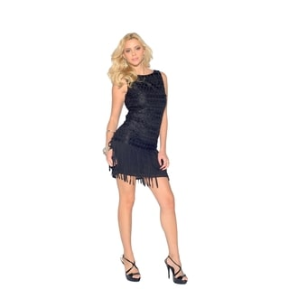 Sara Boo Women's Polyester Lace Sleeveless Fringe Dress