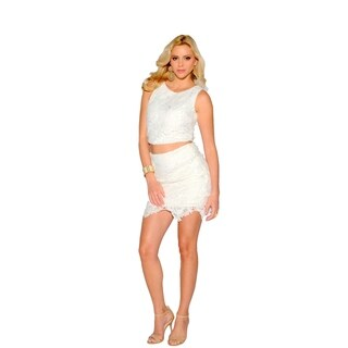 Sara Boo Black/Off-white Spandex/Polyester Lace Crop Top and Skirt Set (2 options available)