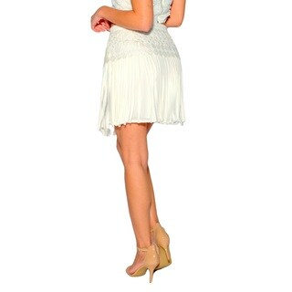 Sara Boo White/Black/Off-white Polyester Lace Fringe Skirt