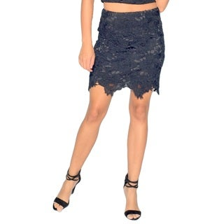 Sara Boo Lace Scalloped-hem Mini Skirt