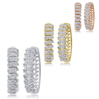 Divina 14K Gold Overlay Diamond Accent Hoop Earrings (I-J,I2-I3).